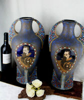 PAIR Czech Rare antique AMPHORA pottery vases knight portraits art deco period