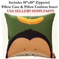 "18x18 18"" 18in Chimp MONKEY BANANA HEAD Green Zipper Throw Pillow Case & Cushion"