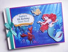 PERSONALISED DISNEY LITTLE MERMAID BIRTHDAY GUEST BOOK - ANY DESIGN