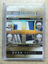 14-15 UD Premier Quad Patch WHEELER / KANE / JACOB TROUBA / MARK SCHEIFELE /10