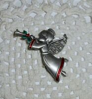 Vintage JJ Signed Christmas Angel Blowing Horn Brooch Pin Enamel Pewter  C138