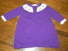 Janie and Jack Baby Infant Girl 3-6 Sweater Dress Purple Yorkie Winter Whimsy