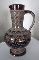 KRUGVASE Henkelkrug Vase Kanne glasiert Handarbeit Ritztechnik Steingut Keramik?