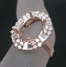 Oval 9×12mm 14K Rose Gold Natural 1.178ct Diamond Semi Mount Engagement Ring