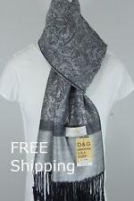 DG Women's Pashmina Scarf Wrap Shawl,Silk Cashmere Paisley Silver/Black*Soft*027