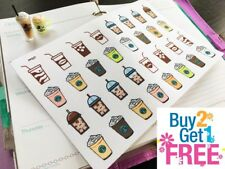 PP227 -- Iced Coffee Latte Planner Stickers for Erin Condren (32pcs)