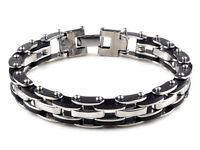 "Mens Stainless Steel Link Bracelet Bangle Chain Black Rubber Wristband Gift 8.5"""