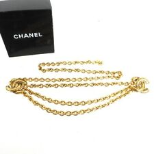Vintage Chanel Triple Chain COCO Quilted Gold Necklace  Belt.NFV6212
