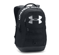 UNDER ARMOUR BIG LOGO 5.0 BACKPACK WITH LAPTOP SLEEVE ~ BLACK & SILVER