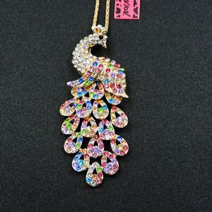Betsey Johnson Fashion Jewelry Crystal Rhinestone Peacock Pendant Necklace