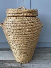 Large Retro Vintage Wicker Laundry Basket, Lid & Handles Snake Charmer, Ali Baba