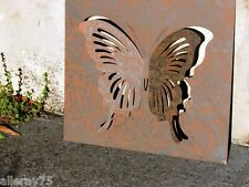 FRENCH WALL ART DECOR butterfly metal cut out 3D rust  indoor outdoor  new