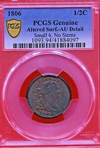 1806 PCGS Altered Surf. AU-Detail Small 6, Stems Draped Bust Half Cent Coin 1/2c