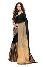 Cotton Sarees Aura Designer Cotton Blend Sari Black Gold Zari Woven Party Wear