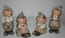 Wichtel 4erSet Lustige Figuren 9,8 cm bis 13 cm h sitzend stehend Terracotta