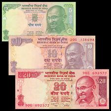 India 3 PCS Banknotes Set (5+10+20 Rupees),  UNC