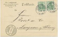 """DT.REICH """"GEORGENTHAL / HZGTH. / GOTHA"""" sehr selt. K1 a. Kab.-Postkarte nach CH"""