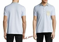 NWT DIESEL T-Bleach Cotton Mens Polo Shirt WHITE Contrast Denim MEDIUM $98