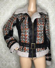 Desigual Tweed Boucle Biker Moto Jacket Sz 42 US 8 Faux Fur
