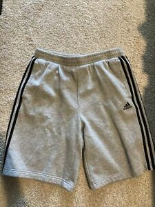 Adidas Mens Shorts Gry w/blk stripes size L preowned