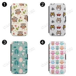 Owls Bird Design FLIP WALLET Phone Case Cover All iPhone & Samsung