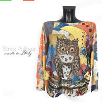 Strick Pullover *Made in Italy 'Eule' Print  Muster Langarm Pulli Gr: 38-46