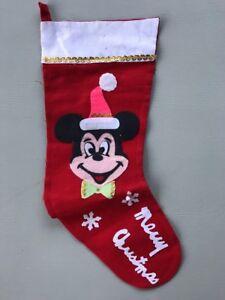 Vintage Mickey Mouse Walt Disney Productions Felt Christmas Stocking Japan