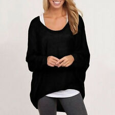 UK 8-24 Oversized Women Loose Long Sleeve Shirt Blouse Casual Baggy Tops Jumpers
