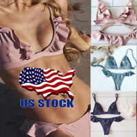 2017 Sexy Swimwear Bathing Suit Padde Bikini ruffle Swimsuit Triangle Beachwear