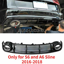 RS6 Style Gloss Black Rear Diffuser With Exhaust Tips For 16-18 Audi 6 SLINE S6