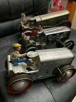 """MARX TIN TOYS Antique Wind Up """"LOT"""" Six Wheel Super Power Reversible Tractor"""