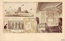 "PRE-1907 STEAMER ""PRISCILLA"" BULK-HEAD AT MAIN STAIRWAY AND VIEW OF PANEL"