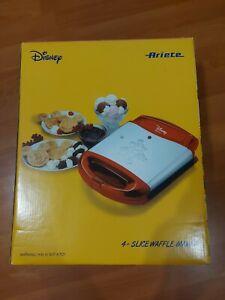 BNIB Disney Ariete Mickey Mouse 4- Slice Waffle Maker Red & Chrome Finish