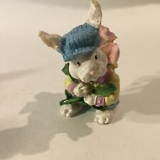 "Vintage Easter Bunny Boy w/Flower Resin Figurine 2.5"" X 2""