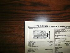 1973 Dodge Plymouth Chrysler EIGHT Series Models 400 CI V8 4BBL Tune Up Chart