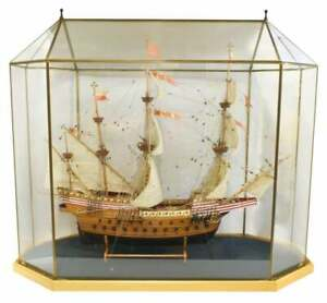 Model Ship, Spanish Galleon, Large Glass Case Model, Great Man Cave Piece!