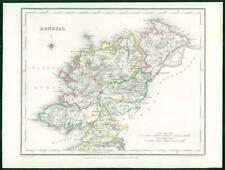 1845 IRELAND - Original Antique Map of DONEGAL by Lewis with outline colour
