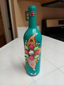 Hand Painted Wine Bottle Beautiful unique artistic designs .