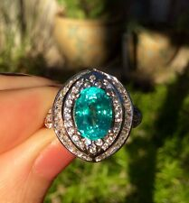 Awesome luster natural earth mined Apatite gem 3.2 ct Sterling Silver size 5