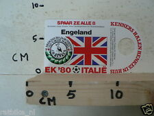 STICKER,DECAL EK 80 ITALIE VOETBAL,SOCCER JH HENKES,ENGELAND, UK