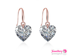 Rose Gold Plated Drop 9mm Heart Crystal Earrings Jewellery Womens Ladies Gift