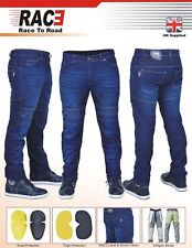 "Mens Motorcycle Motorbike SKINNY Slim Jeans Stretch Denim With Protective Lining 32"" Inch Long - 34"""
