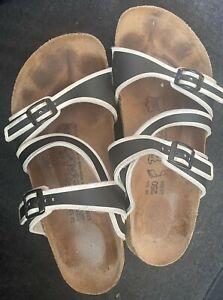 Black & White Birki's 39 women's 8 men's 6 adjustable straps criss cross sandals