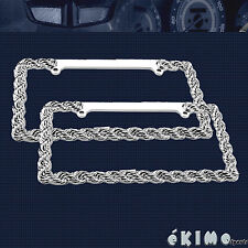 2 X 3D ROPE BRAID DIE CAST ZINC CHROME FINISH LICENSE PLATE FRAME AUTO CAR TRUCK