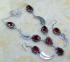 GORGEOUS GENUINE FACETED GARNET 925 SILVER CARVED FEATHER NECKLACE EARRINGS SET