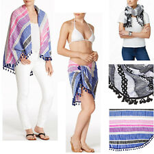 New COLLECTION XllX Multiway Circle Wrap Swim Cover-up Beach Blanket Scarf Black