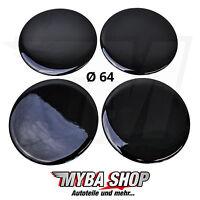 4x Silikon Aufkleber für Nabenkappen ∅= 64mm Embleme Sticker   Schwarz