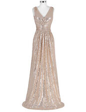 V NECK Long Sequin GLITTER Evening Party Dress Formal Prom Bridesmaid Gown CHEAP