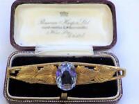 Vintage Art Nouveau Aquamarine Brooch Pin Floral Gilt Gold Pinchbeck Mount