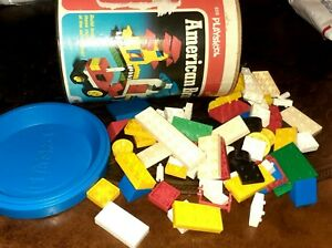 Vintage Playskool  American Plastic Bricks by Milton Bradley ~Canister Toy 166pc